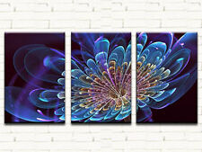 BLUE FLOWERS LARGE CANVAS PRINTS SET OF 3 40x60 (ON FRAME) WALL ART
