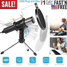 Pro USB Condenser Microphone w/Tripod Stand For Game Chat Studio Recording