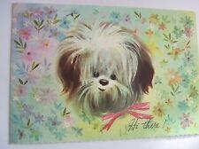 Vintage Unused Mid Century Glitter Card - Quaint Shop Shih Tzu or Lhasa Apso Dog