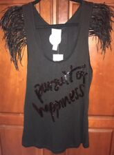 NWT MNG by Mango Black Feather Sleeve Sequin Top Size M