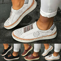 Women Ladies Casual Hollow-Out Breathable Round Toe Slip On Flat Sneakers Shoes