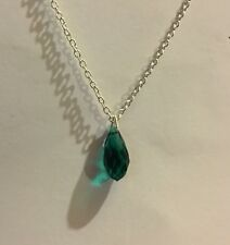 SMALL GLASS TEAL GREEN FACETED BRIOLETTE DROP PENDANT SILVER PLATED CHAIN