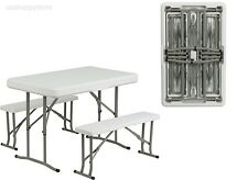 Table and Benches Set Chair Seat Folding Picnic Patio Garden Outdoor Portable