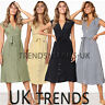 Womens Buttons Belted Midi Dress Summer Sleeveless V Neck Striped Ladies UK6-16