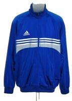 Adidas Mens Track Jacket Size L Blue Warm Up Full Zip 3 Stripes Trefoil