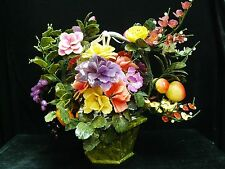REAL LARGE JADE FRUITS & FLOWERS BASKET (99-12) - CENTER PIECE - RARE