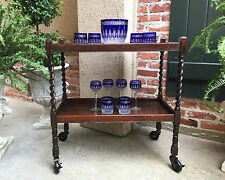 Antique English Dark Oak Barley Twist Tea Trolley Serving Cart Table Dumbwaiter