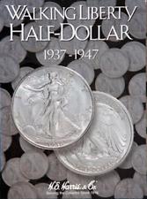 H.E. Harris US Walking Liberty Half Dollar Coin Folder Book #2 1937-1947 #2694