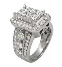 2.94ct Princess Round Cut Invisible Prong Pave Set Wedding Ring 14K White Gold