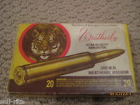 Vintage Weatherby Magnum 300 W.M. Tiger Ammunition Ammo Collector Box No Brass
