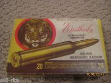 Vintage Weatherby Magnum 300 W.M. Tiger Ammunition Ammo Box No Brass