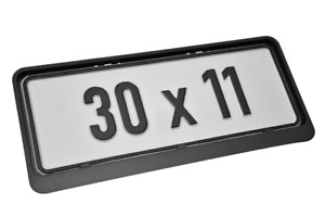 2 x TOP SHORT BLACK NUMBER PLATE HOLDER 30cm x 11cm FOR ANY CAR