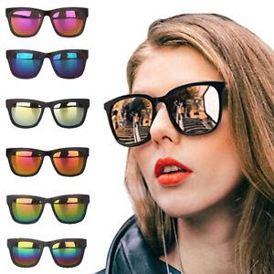 Unisex rectangular  Men Women Vintage Retro UV400 Mirror Lens Square Sunglasses