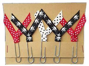 Set of 5 Handmade Decorative Paper Clip Planner Book Marks - SKULLS