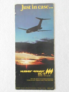SAFETY CARD HUGHES AIRWEST DC-9 SERIES 15F & 30 1979