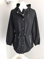 Ladies Black Mac Waterproof Coat Jacket Dorothy Perkins Size 10 Hood Zip Up