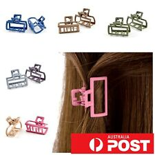 2pc/ Small 2.5cm Matte Metal Geometric Rectangle Square Hair Claw Clip Grip Pin