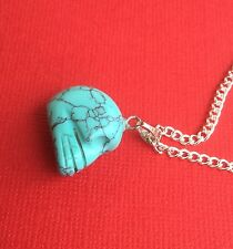 NEW! Dyed Howlite Gemstone Skull Pendant Necklace Turquoise - Aussie Seller!