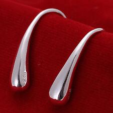 free shipping Solid Silver Middle Teardrop Fish Women Earrings Hoop EY004