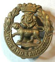 WW1 York & Lancaster Regiment all Brass Economy Cap Badge original
