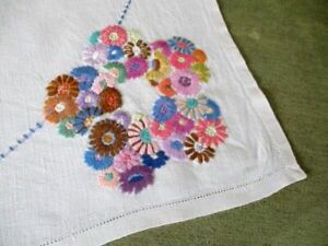 Vintge Hand embroidered tablecloth - vibrant coloured flowers