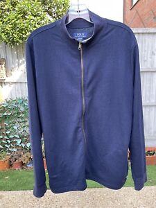 POLO RALPH LAUREN Mens Sleepwear Jacket Size Medium Navy Blue Zip-Up Lounge Wear