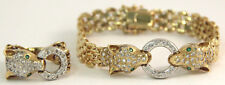 Estate 14k Yellow Gold Dog/Cat Diamond Panther Link Matching Ring & Bracelet Set