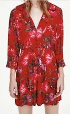 ZARA RED FLORAL BUTTONED DRESS CROCHET EDGE CAN BE WORN AS KIMONO UNBUTTONED