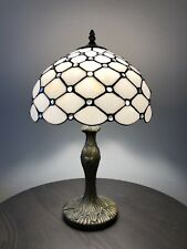 """Enjoy Tiffany Style Table Lamp Crystal Bean White Stained Glass Vintage 19""""H12""""W"""