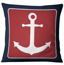 Cushion Cover Blue Anchor Sailor Nautical American Marine Style  Pillows Cover