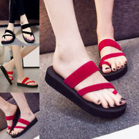 Summer Women Wedge Platform Flip Flops Non-slip Slippers Casuals Beach Sandals