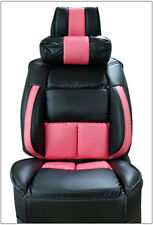UNIVERSAL LIMOUSINE BLACK/PINK S.LEATHER FRONT ONE SEAT COVER WITH NECK CUSHION