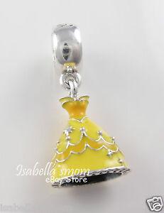 Disney BELLE'S DRESS Genuine PANDORA Yellow Enamel PRINCESS Dangle 791576ENMX
