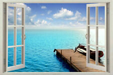Huge 3D Window Exoitic Decal Wallpaper Mountain Lake View Wall Stickers Film Art