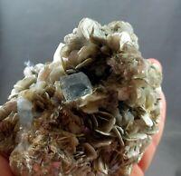 350 Grams Mind Blowing Beautiful AQUAMARINE Crystal On Mica @Pak