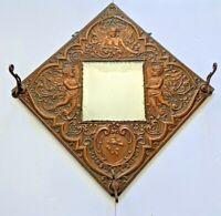 Antique Embossed Copper Cherubs Angels 3 Hook Coat Hat Hall Mirror Victorian