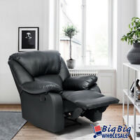 Black Leather Recliner Sofa Manual Single Couch Reclining Chair Home Furniture