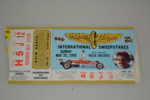 1980 64th INDIANAPOLIS 500 TICKET STUB INDY CAR RACING W/RICK MEARS-1979 WINNER