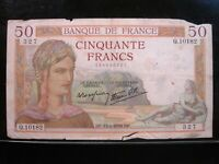 FRANCE 50 FRANCS 1939 FRENCH 27# Currency Bank Money Banknote