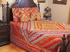 Red Indian Inspired Ethnic Bedding Set - Sari Quilted Duvet Pillow Shams ~ King