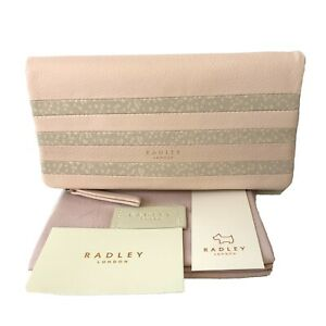 Radley Large Leather Pink Purse Cards Wallet Damsel Walk Stripes