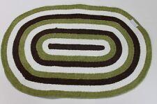 """Fao Schwarz """"Journey"""" Chenille Braided Nursery Rug - Green/Brown/White - New"""