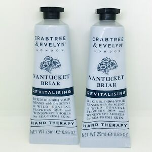 2 X Crabtree & Evelyn Nantucket Briar Revitalising Hand Therapy Cream 25ml