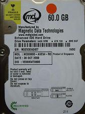 60 GB MDT MD00600-AVEW-RO / VE00KWT0600 / OCT 2009 / 2060-701402-002 REV B