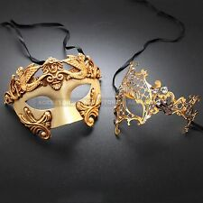 His Her Couple Masquerade Party Masks - Gold Themed Phantom Venetian Mask Set