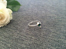 925 Silver Toe Ring - Adjustable - Dark Emerald Green Stone