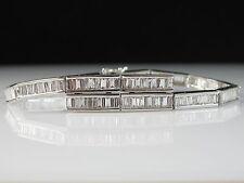 """14K 3.60ctw Baguette Diamond Bracelet Omega Safety Chain 6.5"""" White Gold $6500"""