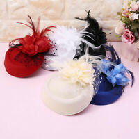 Women's Fascinator Hat Feather Flower Headdress Wedding Bridal Headbands
