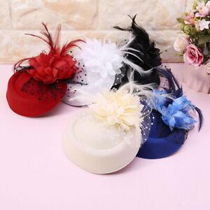 Retro  Women Fascinator HatFeather Flower Headdress Wedding Bridal Headbands