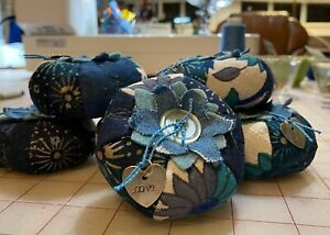 Handmade Pin Cushion Vintage Charms & Buttons Blue